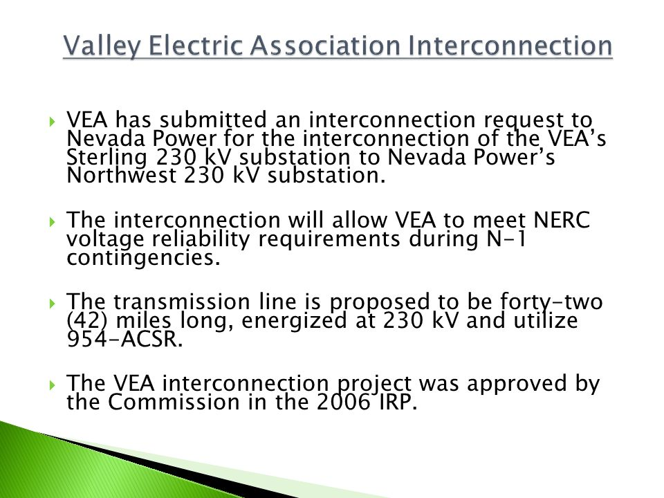 Valley Electric Association Interconnection