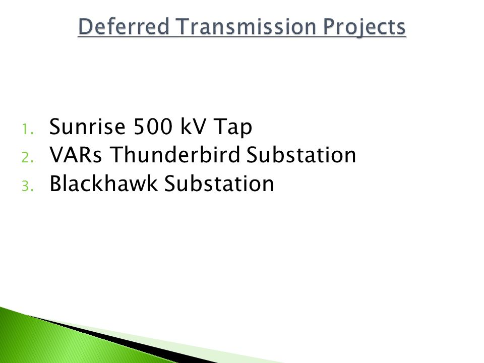 Deferred Transmission Projects