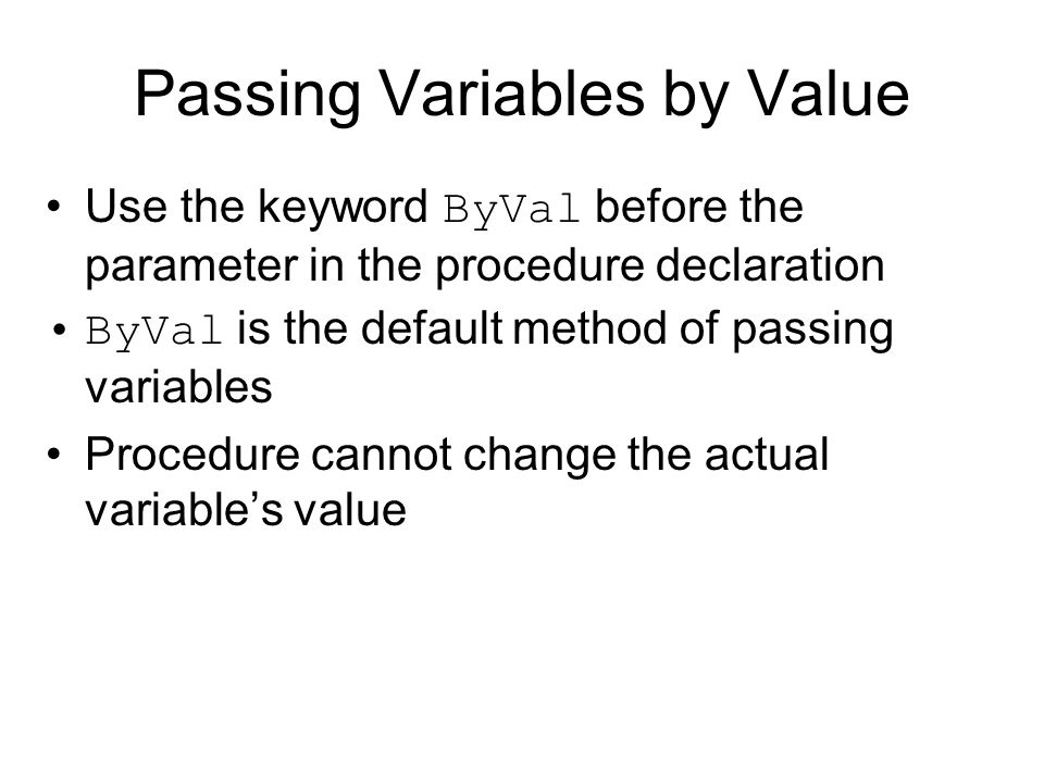 Passing Variables by Value