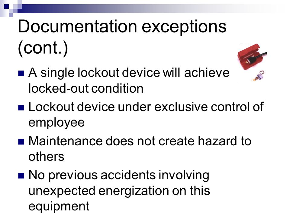 Documentation exceptions (cont.)