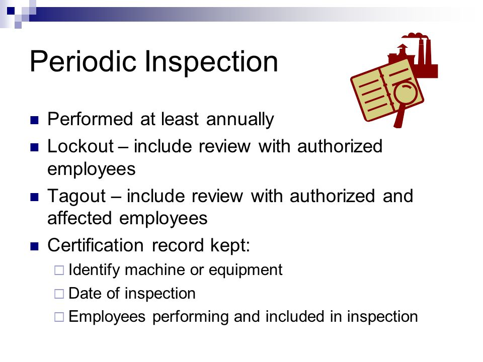 Periodic Inspection Performed at least annually