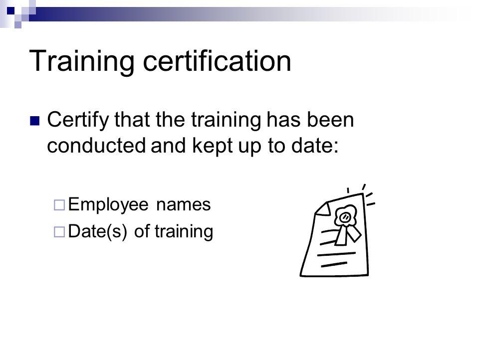 Training certification