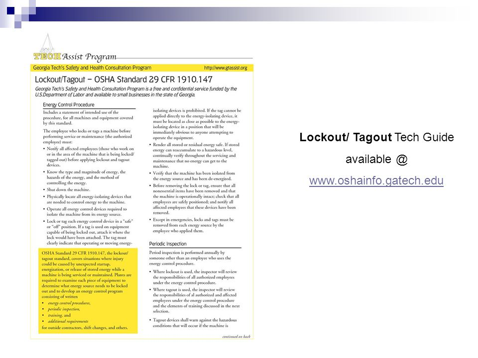 Lockout/ Tagout Tech Guide