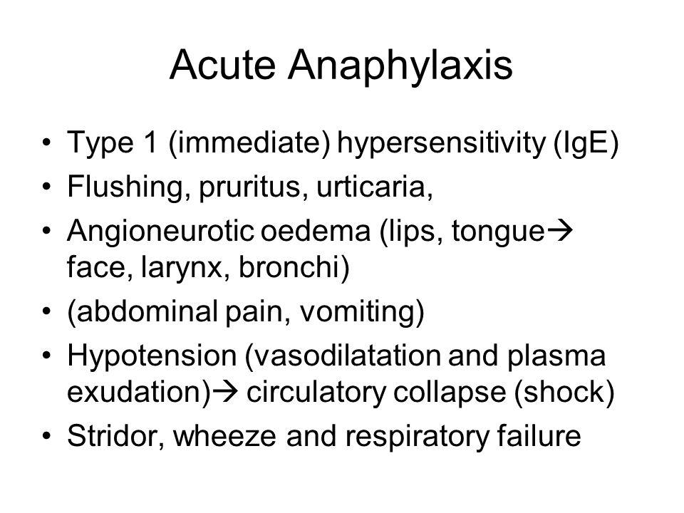 Acute Anaphylaxis Type 1 (immediate) hypersensitivity (IgE)
