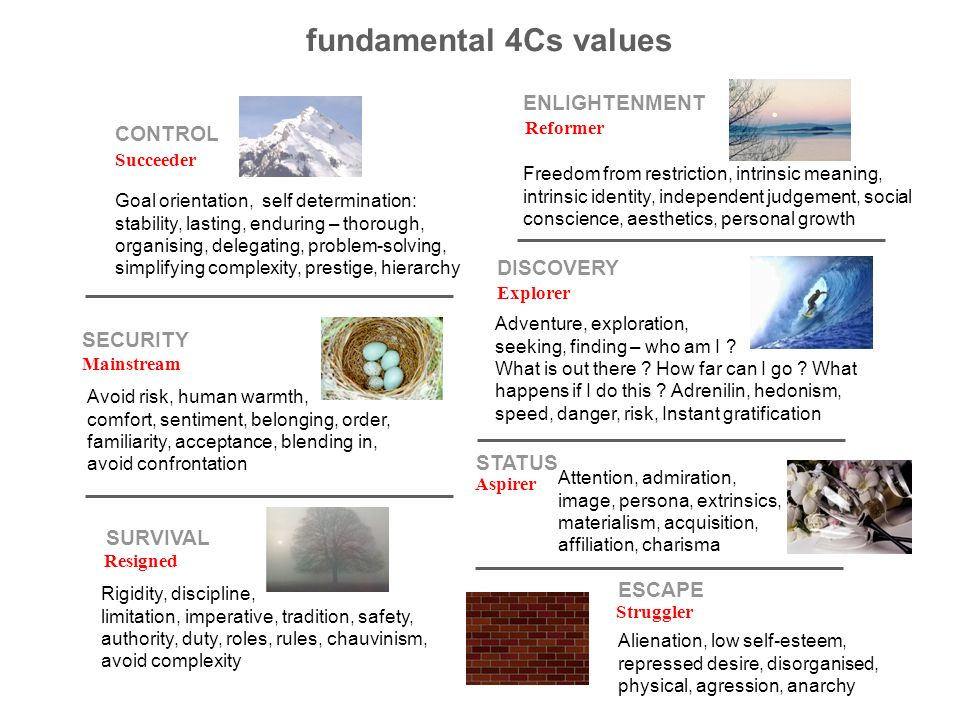 fundamental 4Cs values ENLIGHTENMENT CONTROL DISCOVERY SECURITY STATUS