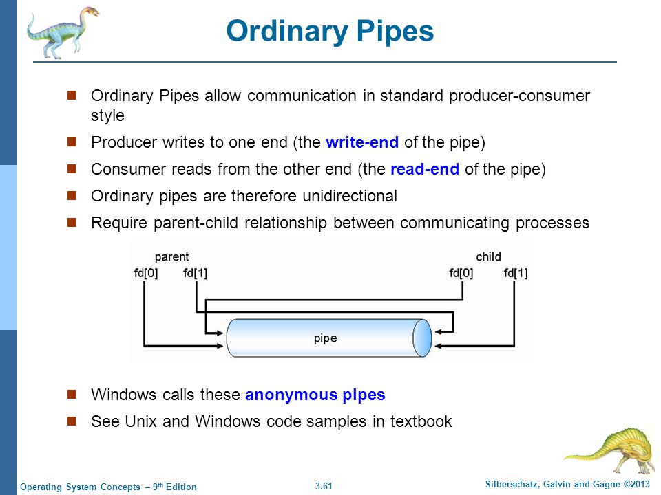 Ordinary Pipes Ordinary Pipes allow communication in standard producer-consumer style. Producer writes to one end (the write-end of the pipe)