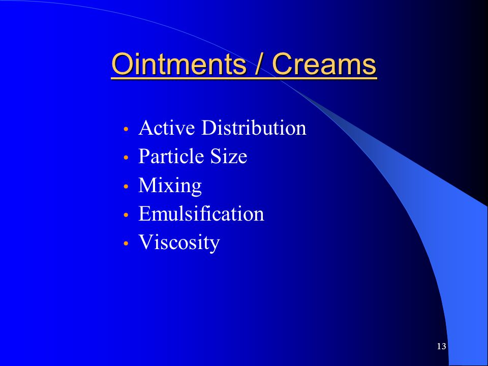 Ointments / Creams Active Distribution Particle Size Mixing