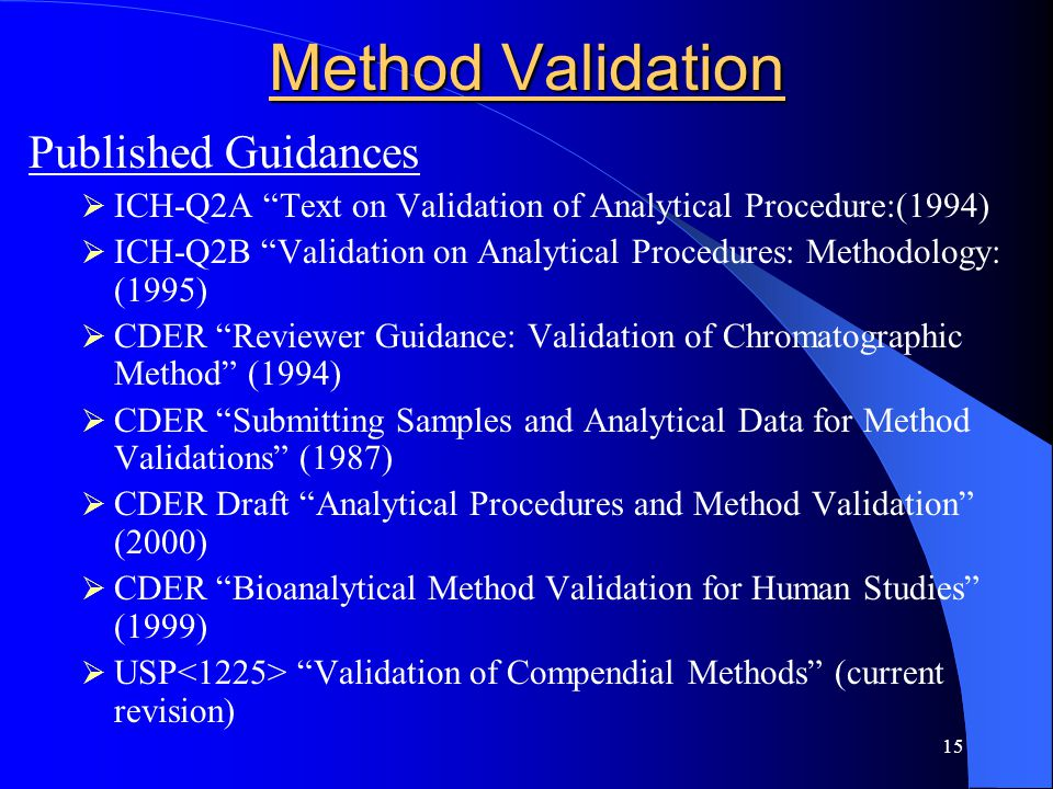 Method Validation Published Guidances