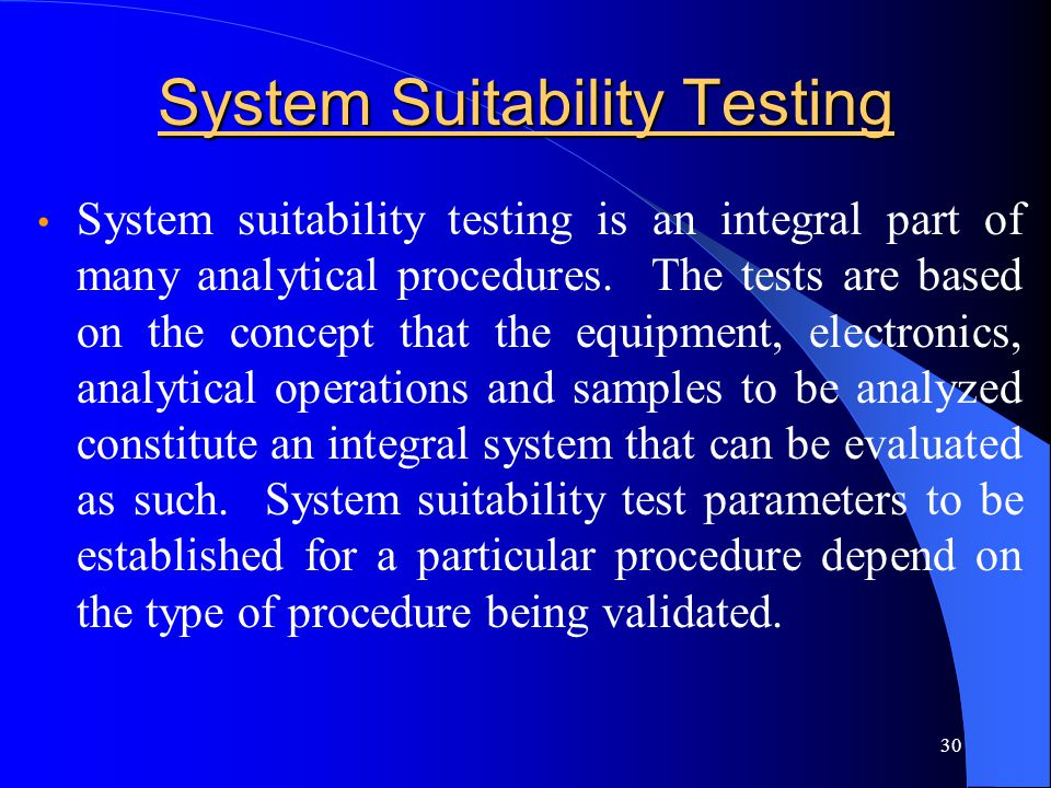 System Suitability Testing