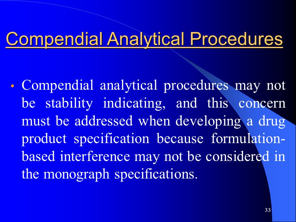 Compendial Analytical Procedures