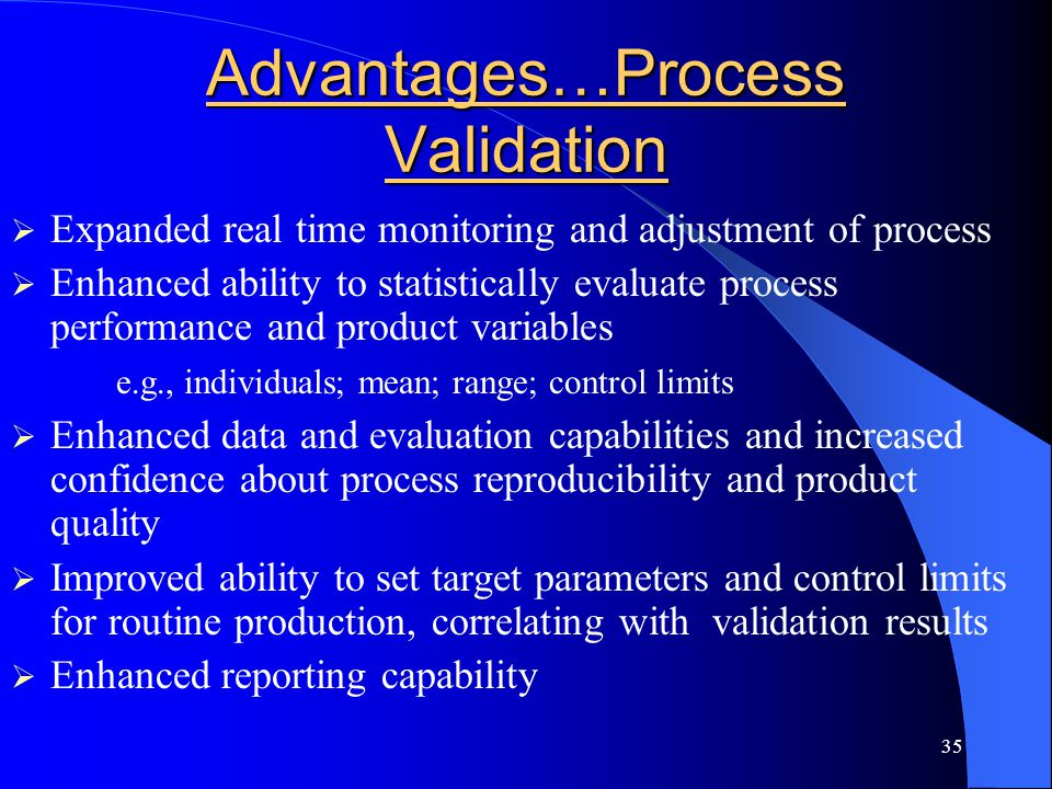 Advantages…Process Validation