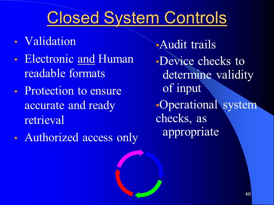 Closed System Controls