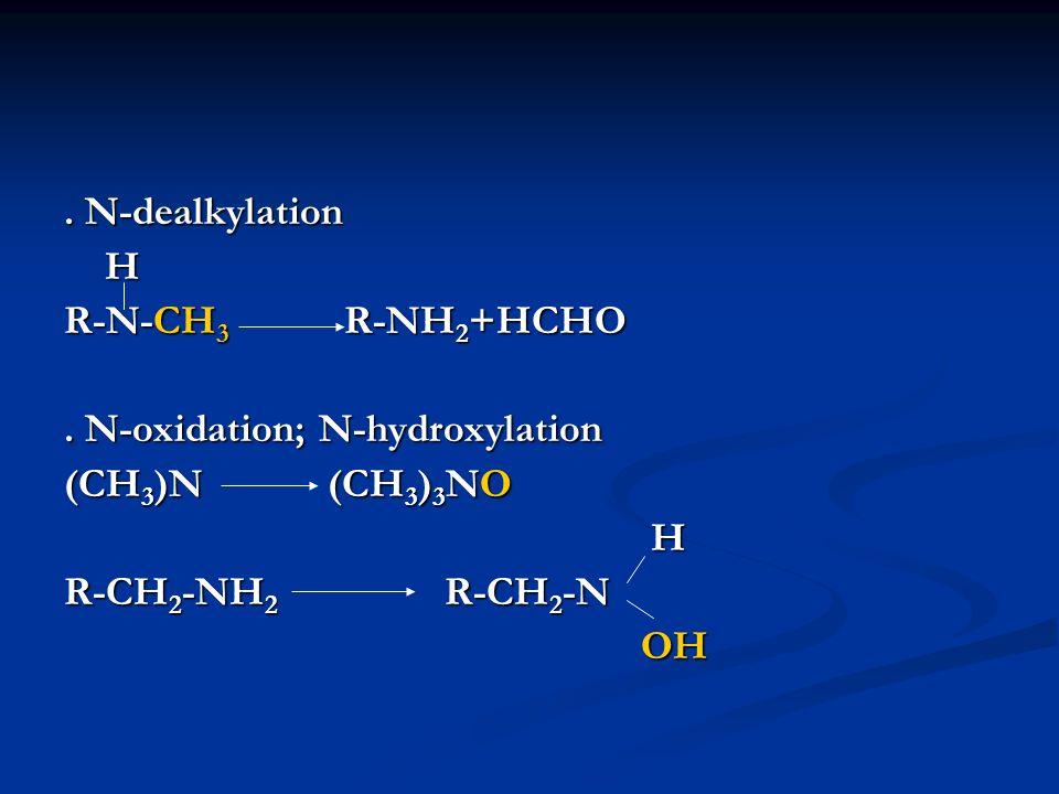 . N-dealkylation H. R-N-CH3 R-NH2+HCHO. . N-oxidation; N-hydroxylation. (CH3)N (CH3)3NO.
