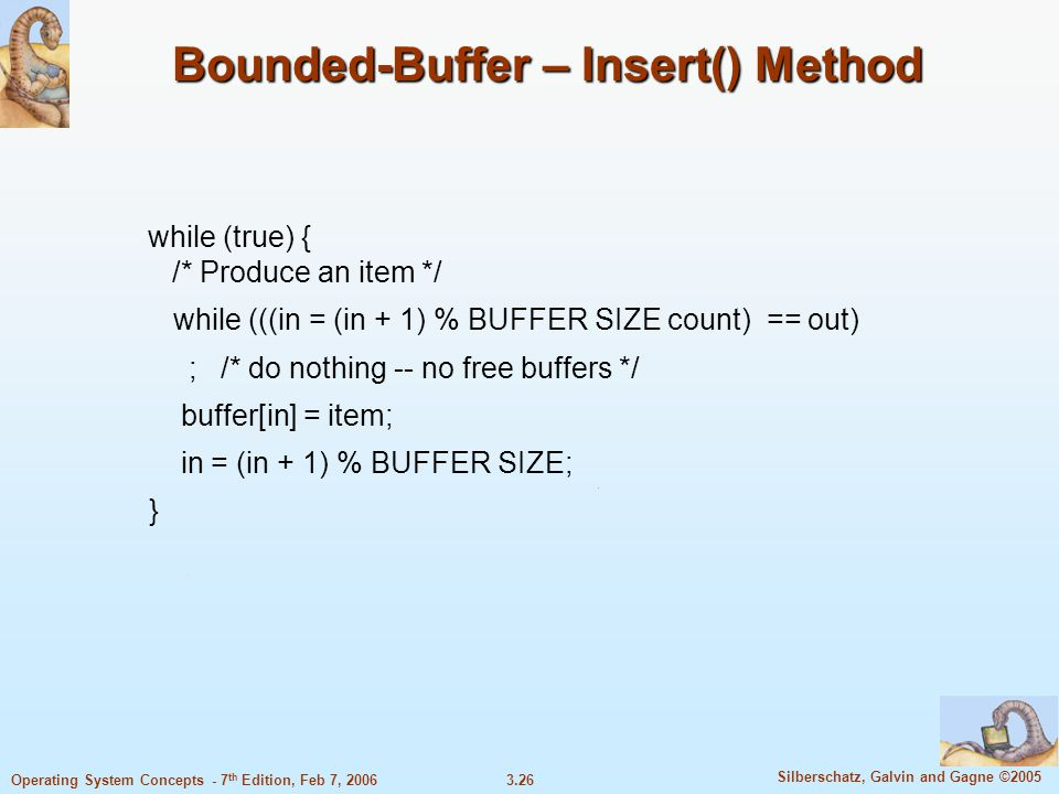 Bounded-Buffer – Insert() Method