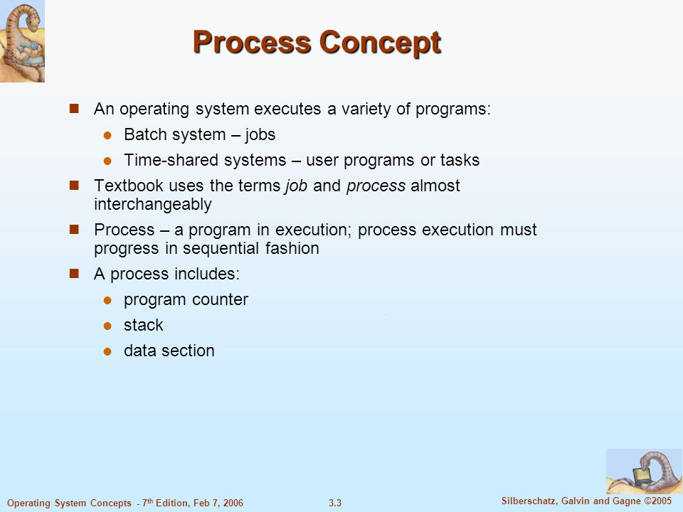 Process Concept An operating system executes a variety of programs: