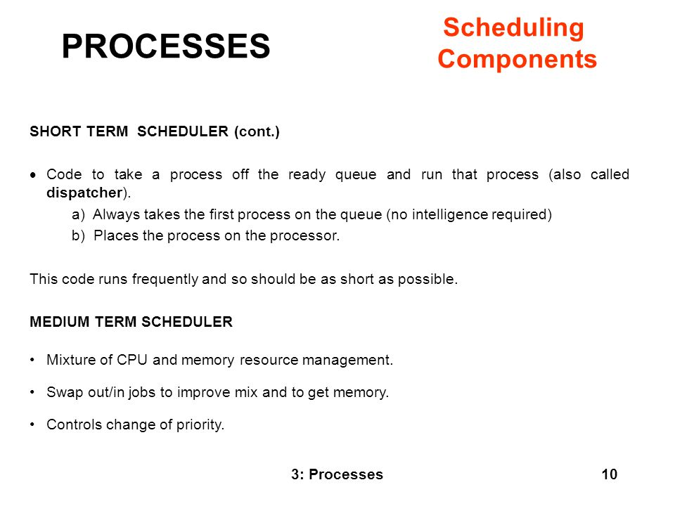 PROCESSES Scheduling Components SHORT TERM SCHEDULER (cont.)