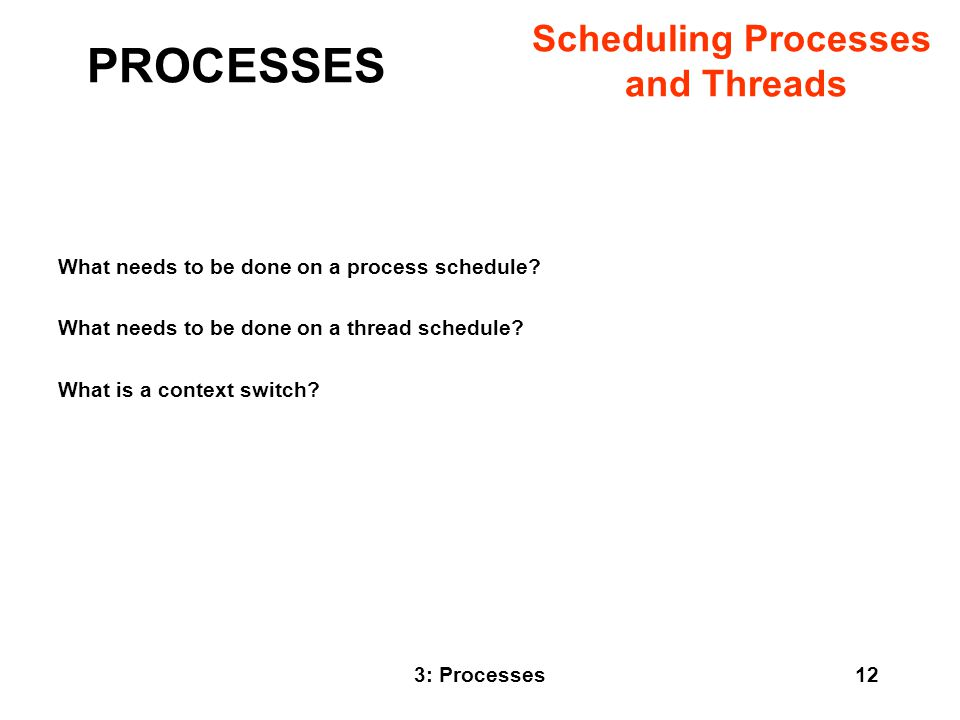PROCESSES Scheduling Processes and Threads