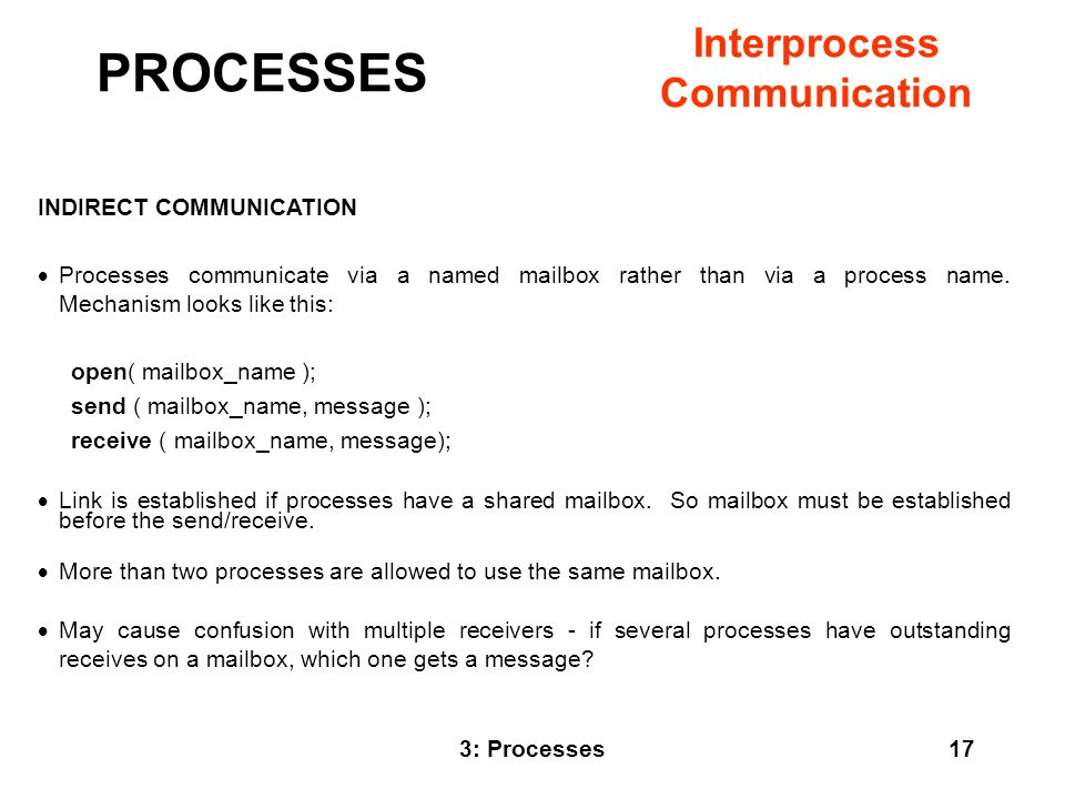 PROCESSES Interprocess Communication INDIRECT COMMUNICATION