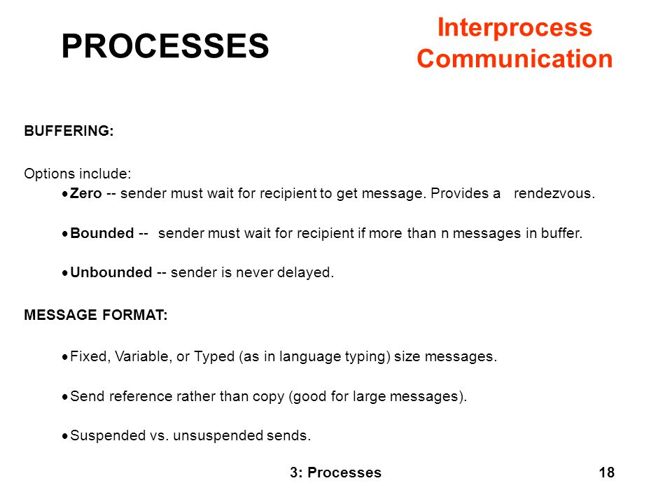 PROCESSES Interprocess Communication BUFFERING: Options include:
