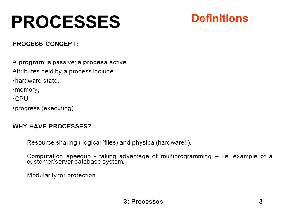 PROCESSES Definitions PROCESS CONCEPT: