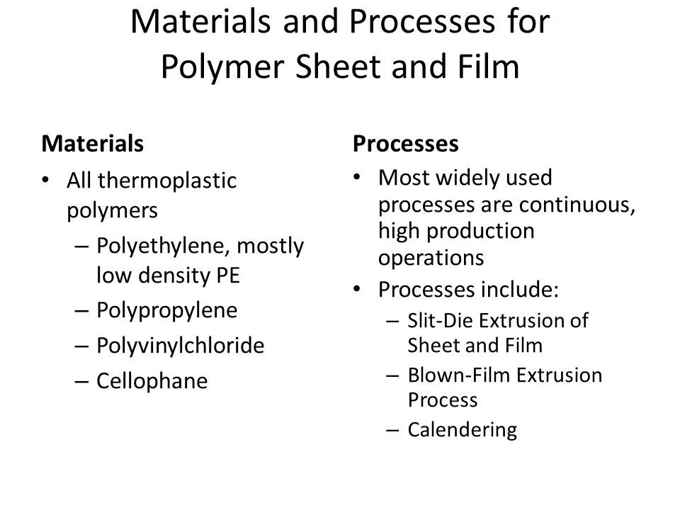Materials and Processes for Polymer Sheet and Film