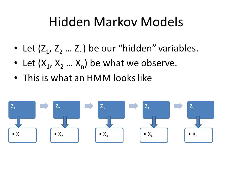 Hidden Markov Models Let (Z1, Z2 … Zn) be our hidden variables.