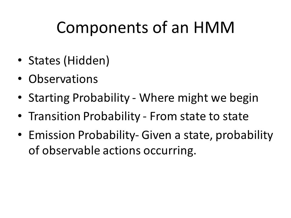 Components of an HMM States (Hidden) Observations
