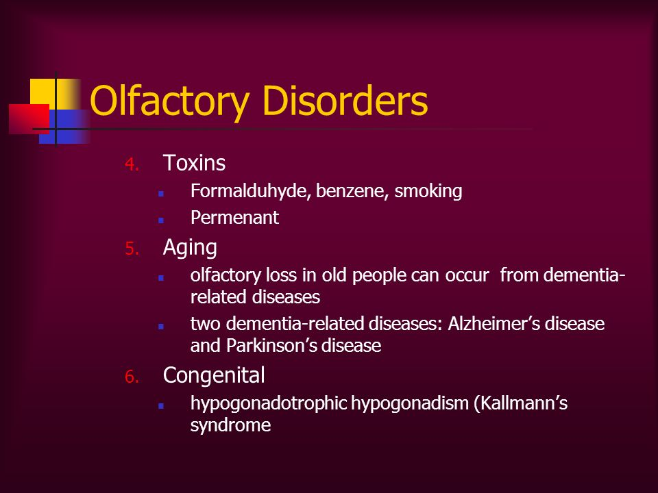 Olfactory Disorders Toxins Aging Congenital
