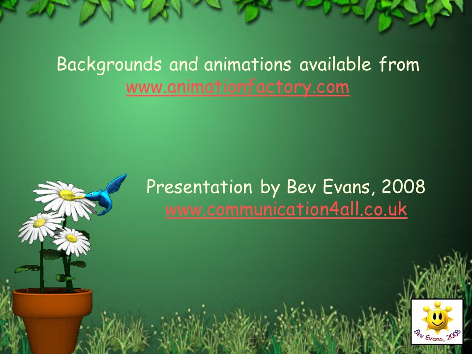 Backgrounds and animations available from www.animationfactory.com