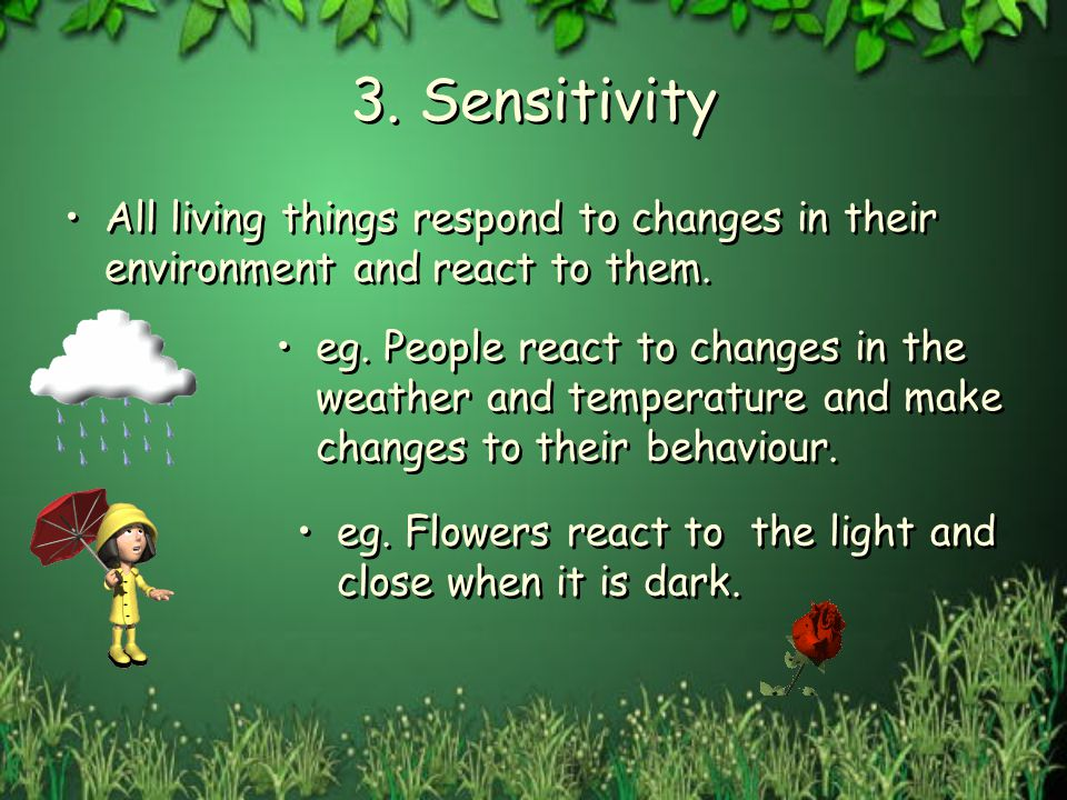 3. Sensitivity All living things respond to changes in their environment and react to them.