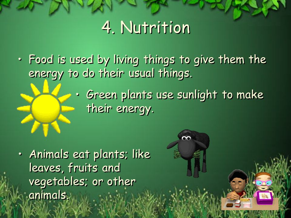 4. Nutrition Food is used by living things to give them the energy to do their usual things. Green plants use sunlight to make their energy.