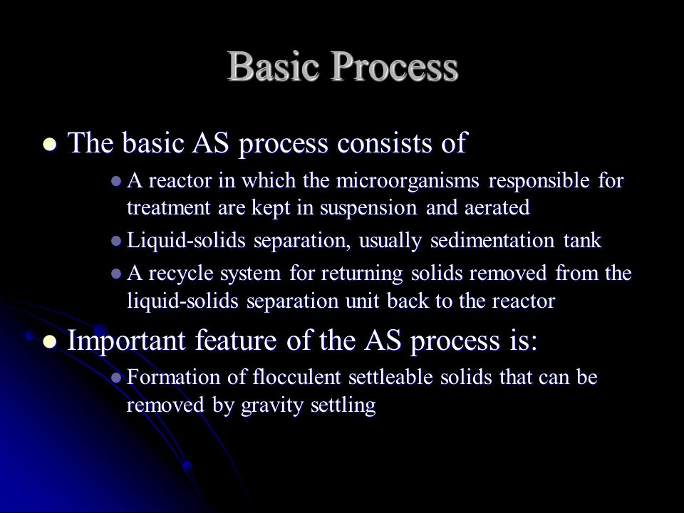 Basic Process The basic AS process consists of