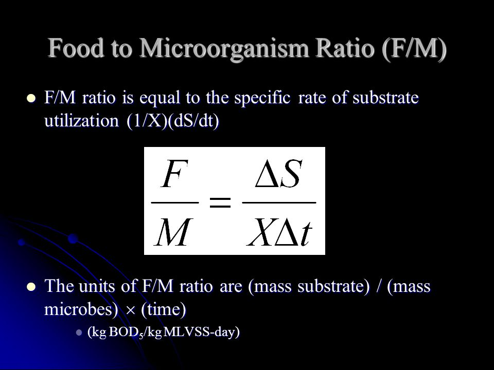Food to Microorganism Ratio (F/M)