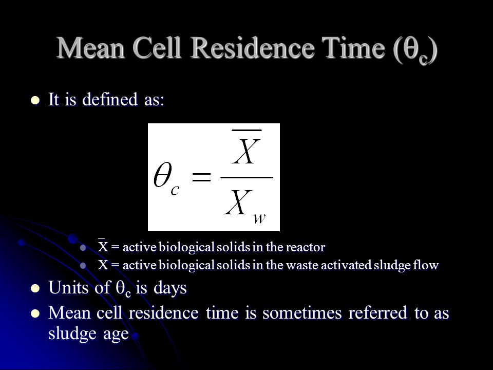 Mean Cell Residence Time (c)