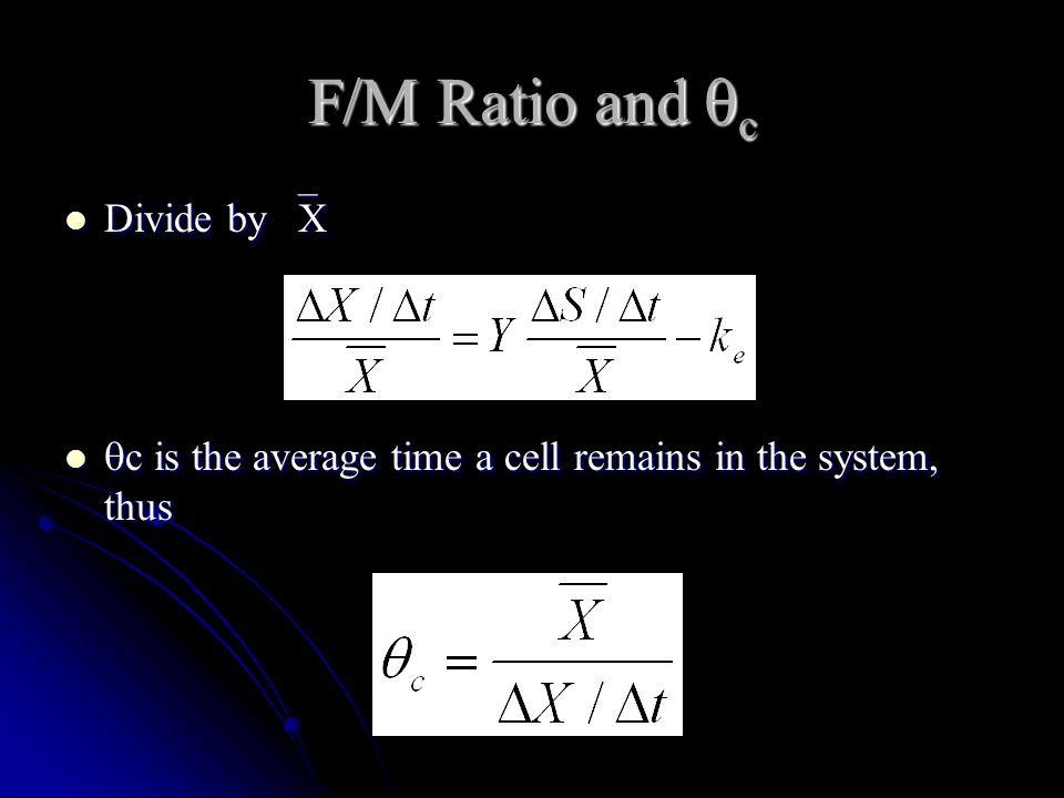 F/M Ratio and c Divide by X