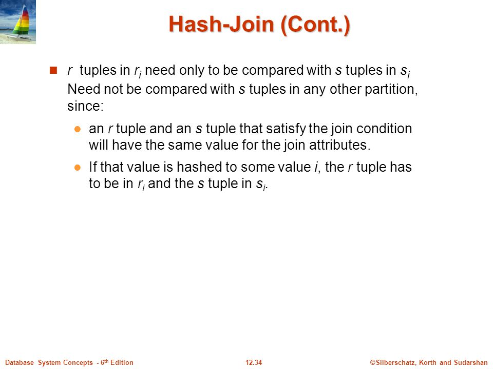 Hash-Join (Cont.) r tuples in ri need only to be compared with s tuples in si Need not be compared with s tuples in any other partition, since: