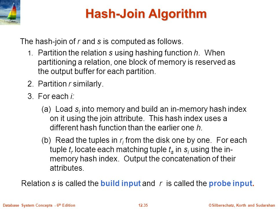 Hash-Join Algorithm The hash-join of r and s is computed as follows.