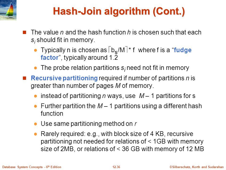 Hash-Join algorithm (Cont.)