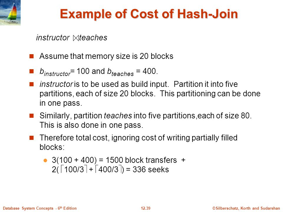 Example of Cost of Hash-Join