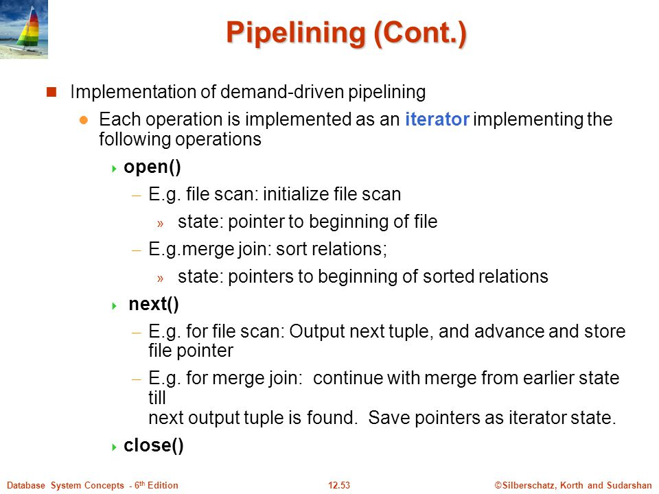 Pipelining (Cont.) Implementation of demand-driven pipelining