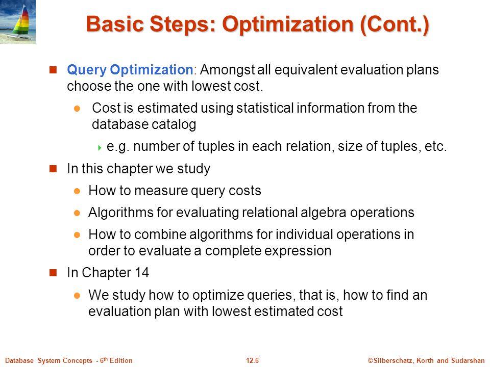 Basic Steps: Optimization (Cont.)