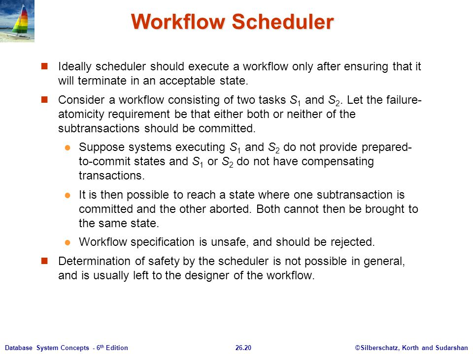Workflow Scheduler Ideally scheduler should execute a workflow only after ensuring that it will terminate in an acceptable state.
