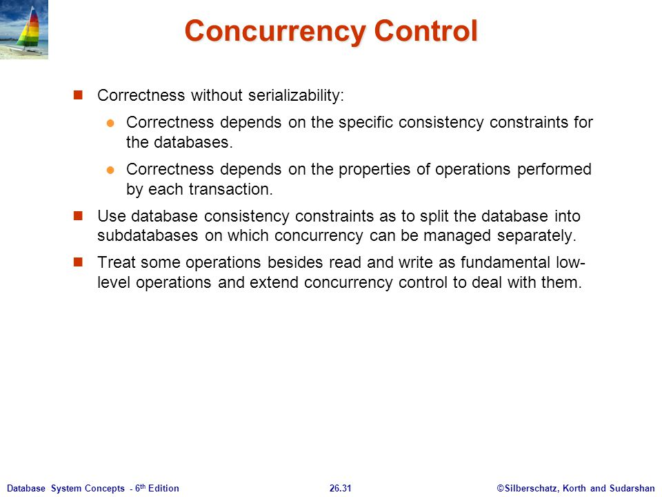 Concurrency Control Correctness without serializability:
