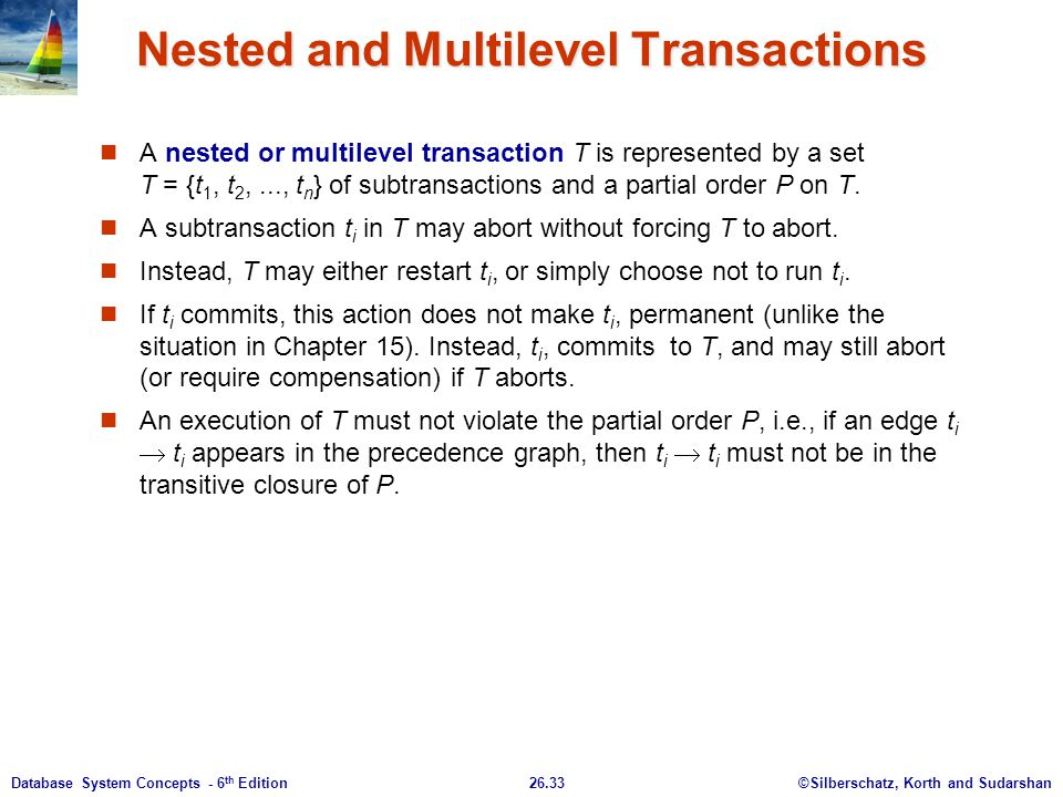 Nested and Multilevel Transactions