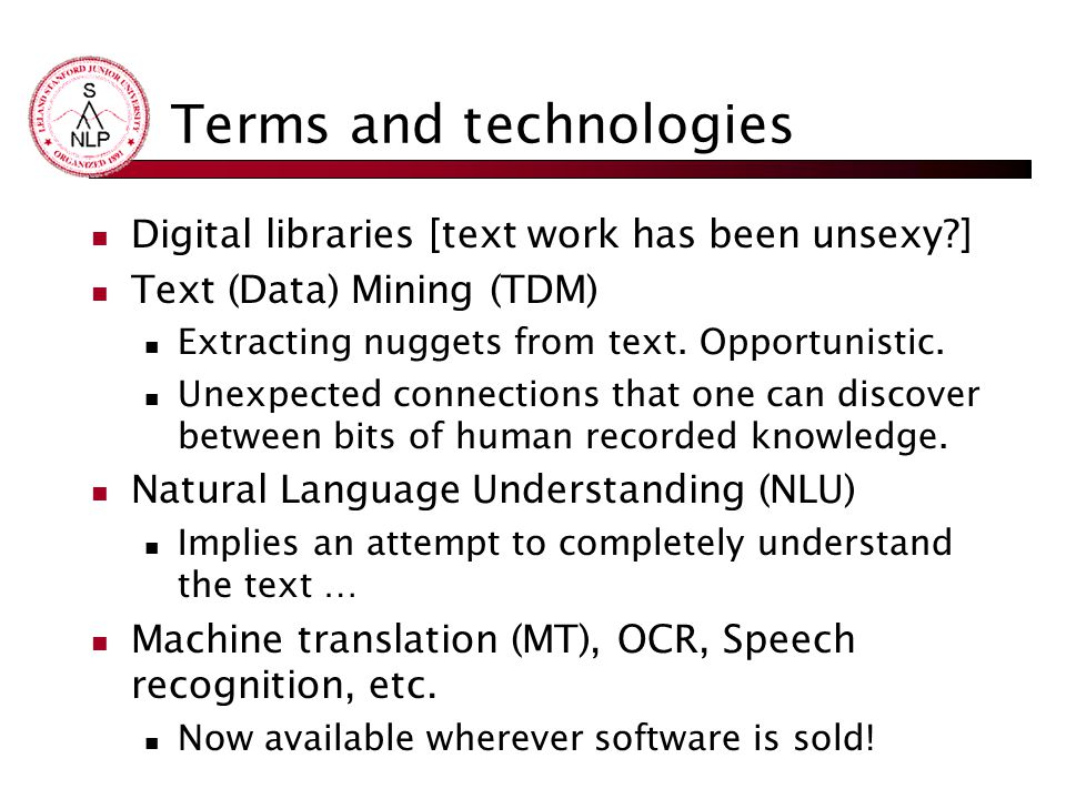 Terms and technologies