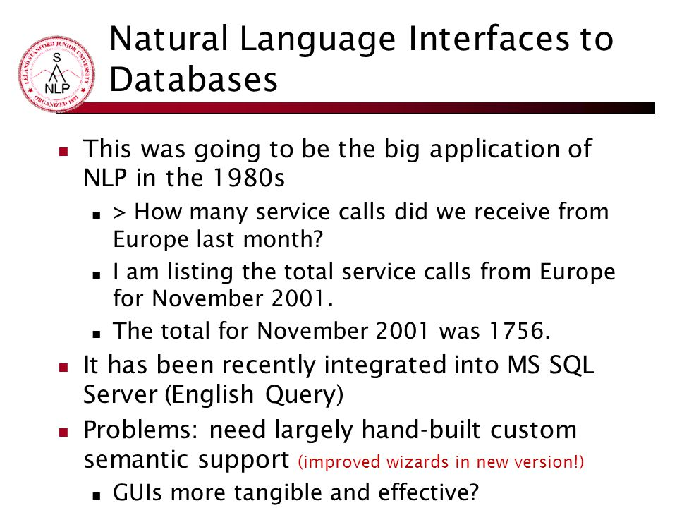 Natural Language Interfaces to Databases