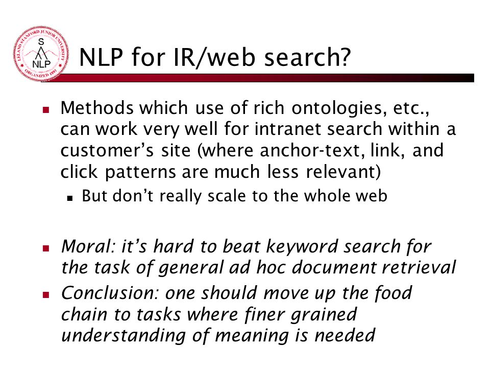NLP for IR/web search