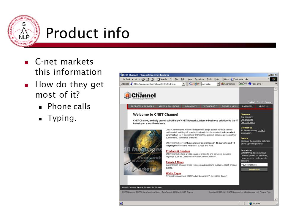 Product info C-net markets this information