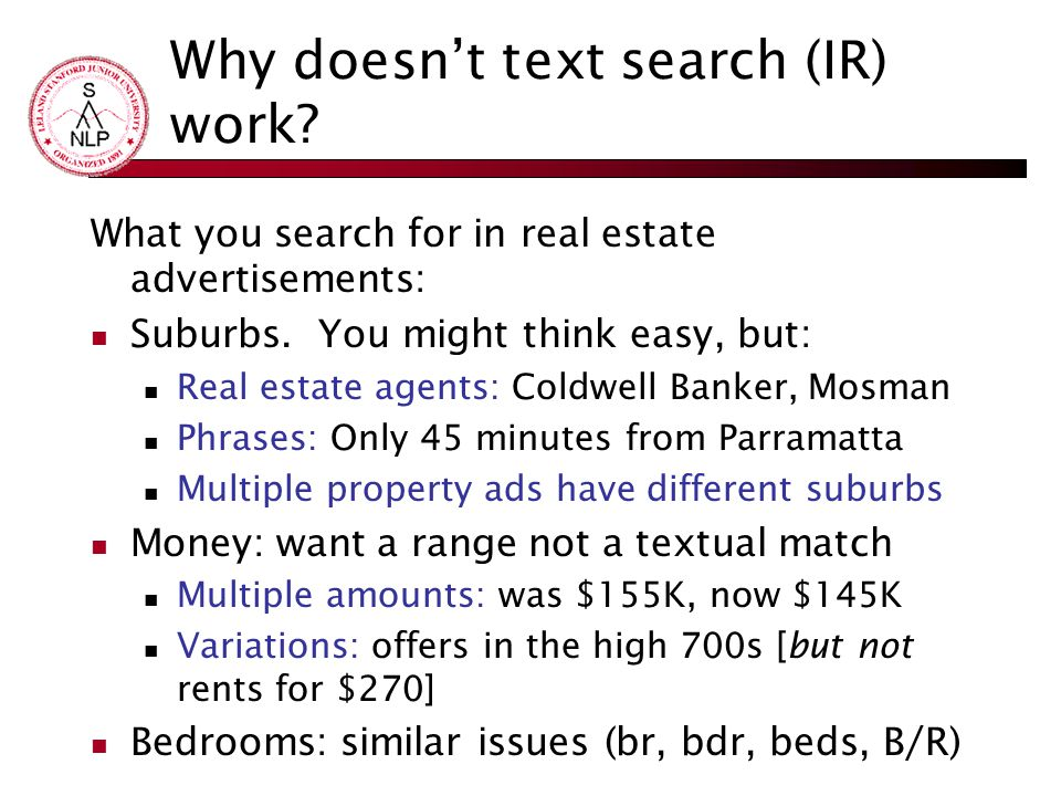 Why doesn't text search (IR) work