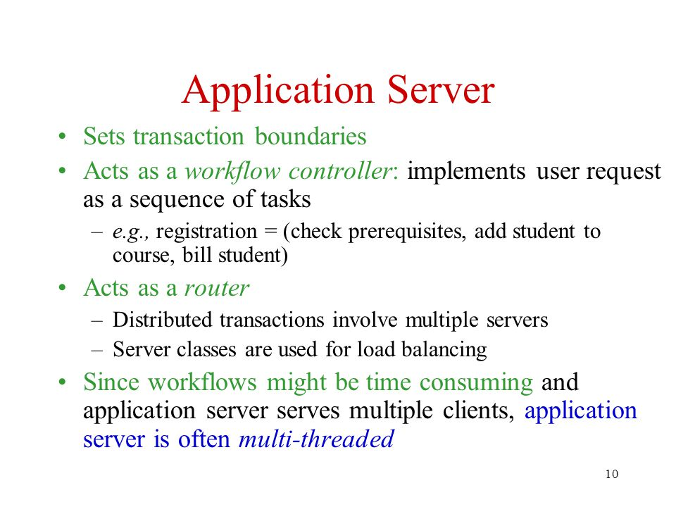 Application Server Sets transaction boundaries